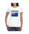 T shirt met nieuw zeelandse vlag wit dames