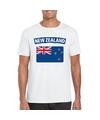 T shirt met nieuw zeelandse vlag wit heren
