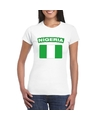 T shirt met nigeriaanse vlag wit dames