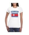 T shirt met noord koreaanse vlag wit dames