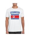 T shirt met noord koreaanse vlag wit heren