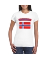 T shirt met noorse vlag wit dames