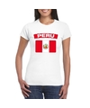 T shirt met peruaanse vlag wit dames