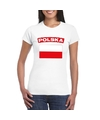 T shirt met poolse vlag wit dames