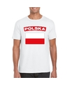 T shirt met poolse vlag wit heren