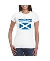 T shirt met schotse vlag wit dames