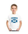 T shirt met schotse vlag wit kinderen