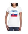 T shirt met slowaakse vlag wit dames