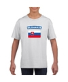 T shirt met slowaakse vlag wit kinderen