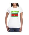 T shirt met surinaamse vlag wit dames
