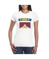 T shirt met tibetaanse vlag wit dames