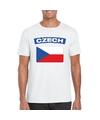 T shirt met tsjechische vlag wit heren
