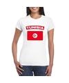 T shirt met tunesische vlag wit dames