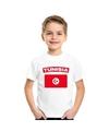 T shirt met tunesische vlag wit kinderen