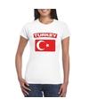 T shirt met turkse vlag wit dames
