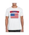 T shirt met usa amerikaanse vlag wit heren
