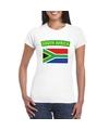 T shirt met zuid afrikaanse vlag wit dames