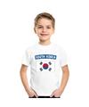 T shirt met zuid koreaanse vlag wit kinderen