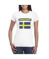 T shirt met zweedse vlag wit dames