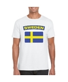 T shirt met zweedse vlag wit heren