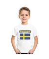 T shirt met zweedse vlag wit kinderen