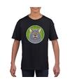 T shirt zwart met grijze kat kinderen