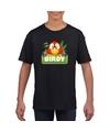 T shirt zwart voor kinderen met birdy de papegaai