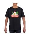 T shirt zwart voor kinderen met chicky de kip