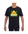 T shirt zwart voor kinderen met ducky de eend