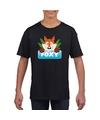 T shirt zwart voor kinderen met foxy de vos