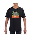 T shirt zwart voor kinderen met kitty cat