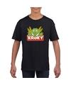 T shirt zwart voor kinderen met kroky de krokodil