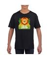 T shirt zwart voor kinderen met leo de leeuw