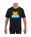 T shirt zwart voor kinderen met tommy the cat