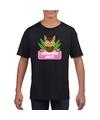 T shirt zwart voor meisjes met paard jumping jack