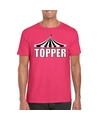 Toppers t shirt roze topper met witte letters heren