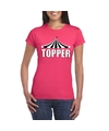 Toppers t shirt roze topper witte letters dames