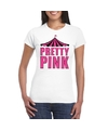 Toppers t shirt wit pretty pink in roze letters dames
