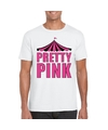 Toppers t shirt wit pretty pink in roze letters heren