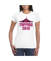 Toppers t shirt wit toppers 2018 in roze letters dames