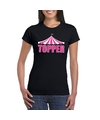 Toppers t shirt zwart topper in roze letters dames