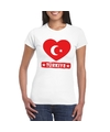 Turkije hart vlag t shirt wit dames