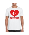 Turkije hart vlag t shirt wit heren
