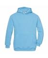 Turquoise katoenmix sweater met capuchon voor meisjes