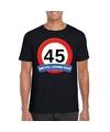 Verkeersbord 45 jaar t shirt zwart volwassenen