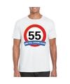 Verkeersbord 55 jaar t shirt wit volwassenen