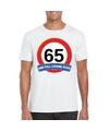 Verkeersbord 65 jaar t shirt wit volwassenen