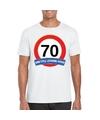 Verkeersbord 70 jaar t shirt wit volwassenen