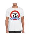 Verkeersbord 75 jaar t shirt wit volwassenen