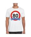 Verkeersbord 80 jaar t shirt wit volwassenen